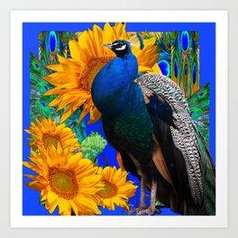 BLUE PEACOCK & GOLDEN SUNFLOWERS BLUE ART Art Print