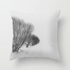 White road Throw Pillow