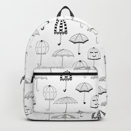 Happy Umbrellas Pattern - white Backpack