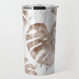 Rose gold monstera on white marble Travel Mug