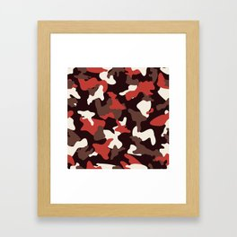 Red camo camouflage army pattern Framed Art Print