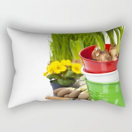 Spring flowers and garden tools  isolated on white Rectangular Pillow