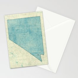 Nevada State Map Blue Vintage Stationery Cards