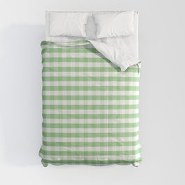 Color of the Year Large Greenery and White Gingham Check Plaid Comforters