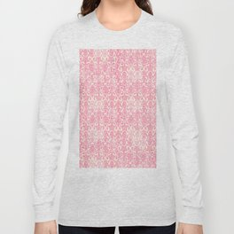 Salmon Pink Damask Long Sleeve T-shirt