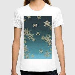"""""""MORE SNOW"""" TEAL BLUE ART DESIGN T-shirt"""