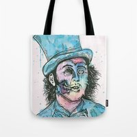 willy wonka Tote Bags featuring Wonka by Paul Granese