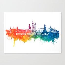 Cracow skyline city color #krakow #skyline Canvas Print