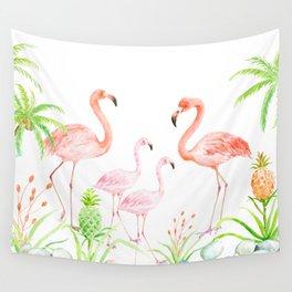 Watercolor flamingo family art print Wall Tapestry