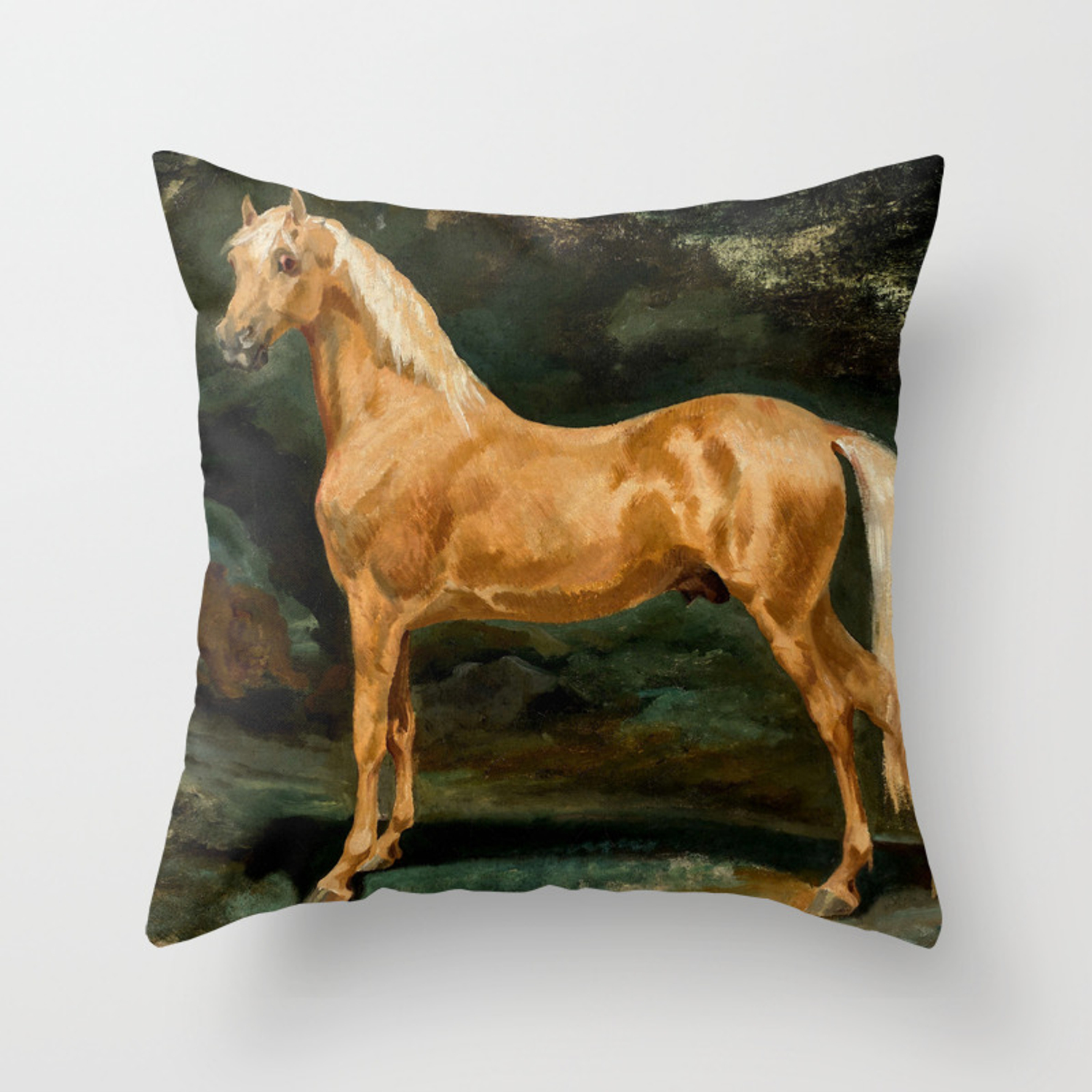 Theodore Gericault Palomino Arabian Stallion Frightened By Two Felines Throw Pillow By Alexandra Arts Society6