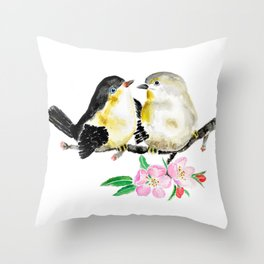 birds and apple flower blossom Throw Pillow
