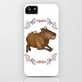 Capybara in Flower Wreath iPhone Case
