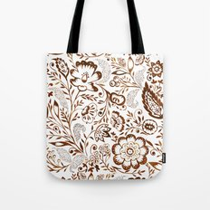 Folk Floral Brown Tote Bag