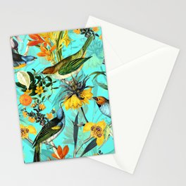 Vintage & Shabby Chic - Teal Tropical Bird Garden Stationery Cards