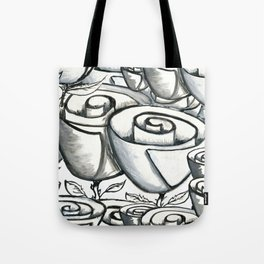 Quirky funky roses gouache painting, black, white and gray Tote Bag