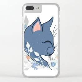 Happy Cat In The Springtime Garden Clear iPhone Case