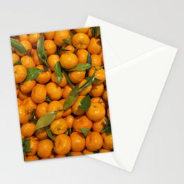 Orange mandarins with green leaves Stationery Cards