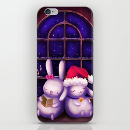 Chubby bunnies at christmas night iPhone Skin