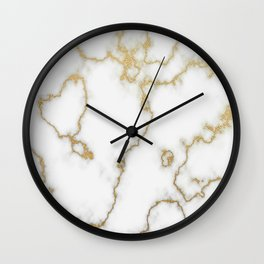 Luxury White Marble With Rich Gold Veins Wall Clock