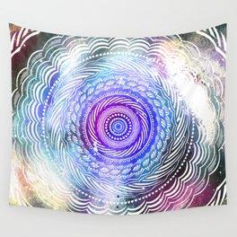 Modern Mandala Spiral Galaxy Space Textured Multi Colored / Purple Pink Orange Gray Black Wall Tapestry