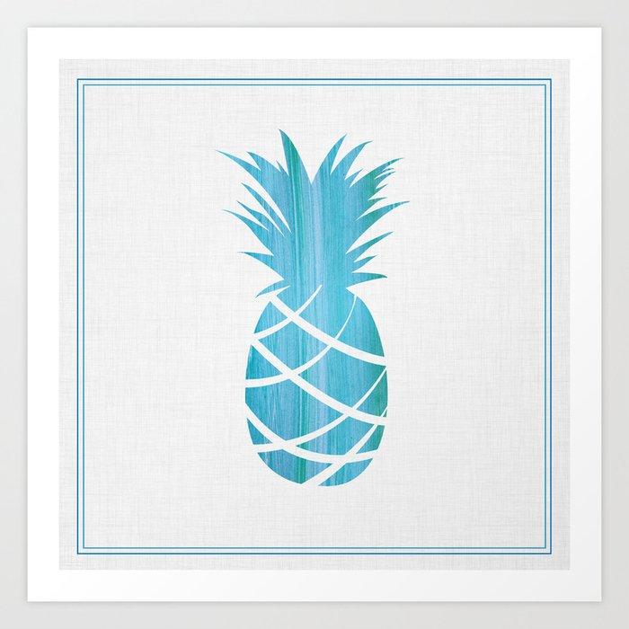 Blue Striped Pineapple Art Print