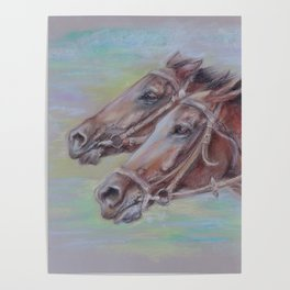 Horse Racing, Portrait of two brown horses, Pastel drawing on gray background Poster
