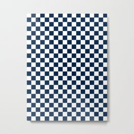 Small Checkered - White and Oxford Blue Metal Print