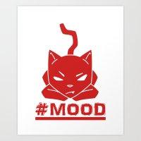 #MOOD Cat Red Art Print