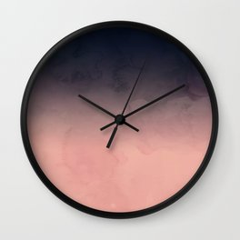 Modern abstract dark navy blue peach watercolor ombre gradient Wall Clock