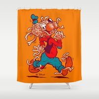 banksy Shower Curtains featuring THE FLYING SPAGHOOFY MONSTER by BeastWreck