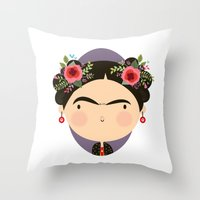 frida Throw Pillows featuring Frida by Maria Jose Da Luz