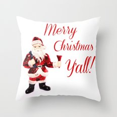 Merry Christmas Y'all Santa Throw Pillow