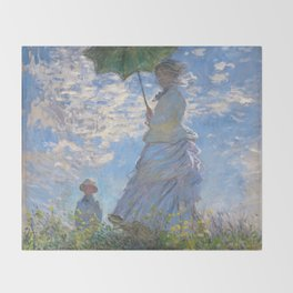 1875-Claude Monet-Woman with a Parasol - Madame Monet and Her Son-81 x 100 Throw Blanket