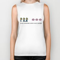 8 bit Biker Tanks featuring 8-BIT ZOMBES LOVE 8-BIT BRAINS by Lewys Williams