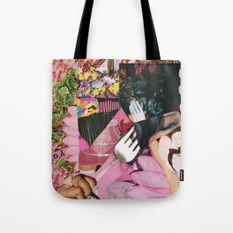 let them eat cake! a pink and green paper collage Tote Bag