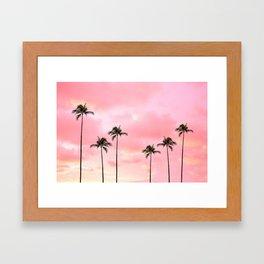 Palm Trees Photography   Hot Pink Sunset Framed Art Print