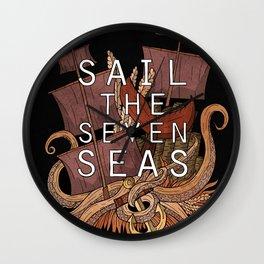 Sail the seven seas Wall Clock