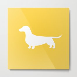 Dachshund (on Yellow) Metal Print