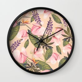 seamless  pattern with  flowers and leaves. Endless texture Wall Clock