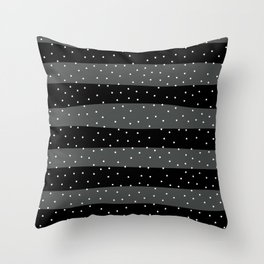 Christmas Simple seamless pattern Snow confetti on Grey and Black Stripes Background Throw Pillow