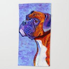 Colorful Brindle Boxer Dog Beach Towel