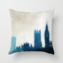 The Many Steepled London Sky Throw Pillow