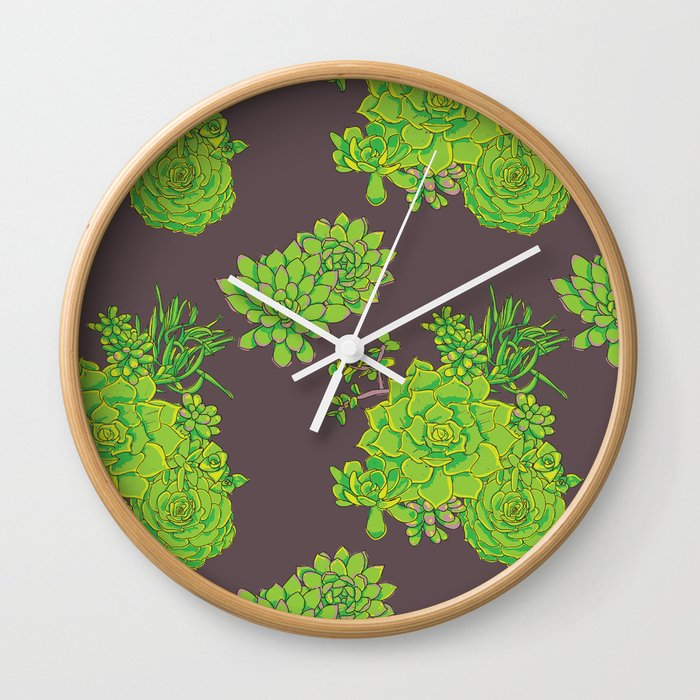 Succulent Pattern Wall Clock