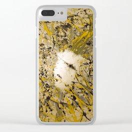 Aluminum, Yellow, Flat black Splash Clear iPhone Case