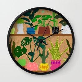 Plants on the Shelf in Warm Wood Wall Clock