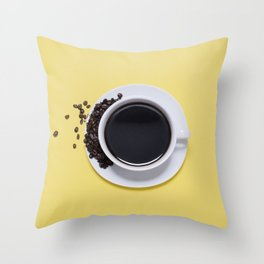 Black Cup of Coffee with Coffee Beans on Yellow Throw Pillow