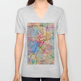 Houston Texas City Street Map Unisex V-Neck
