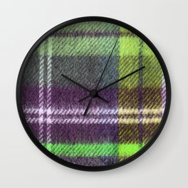 neon green plaid flannel Wall Clock