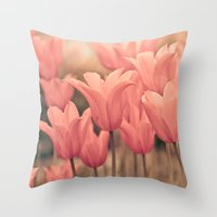 tulips Throw Pillows featuring Tulips by Maria Heyens