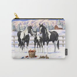 Black Pinto Horse Family Paint Horses In Snow Carry-All Pouch